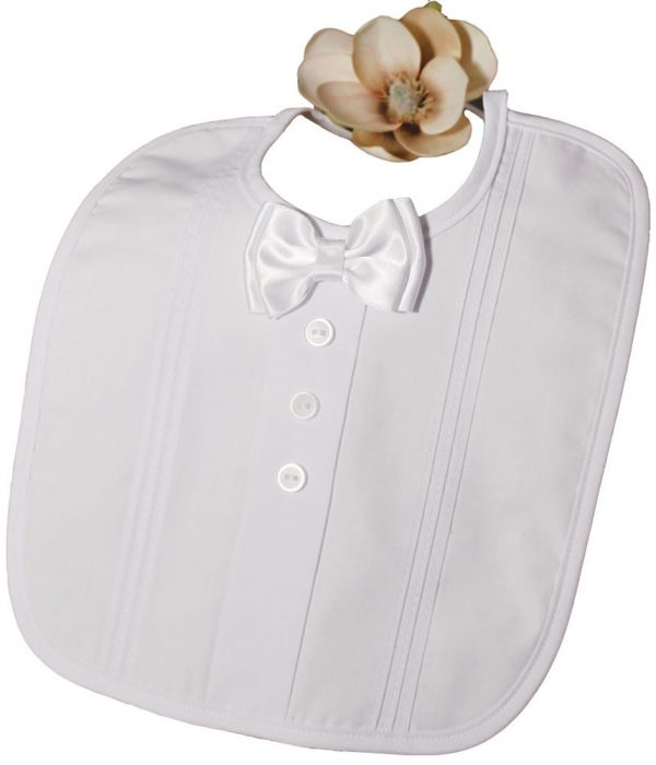 Christening Bib with Bow Tie and Pintucking