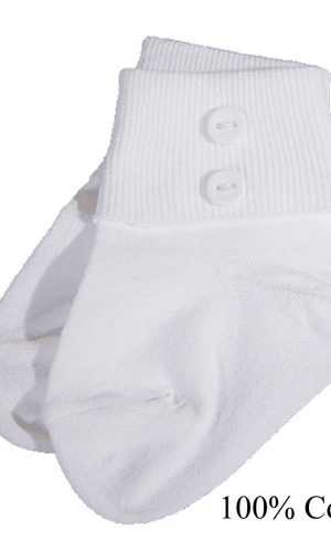 Boys White Anklet Socks with Buttons - Little Things Mean a Lot