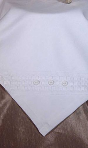 Elegant White Christening Receiver Blanket with Windowpane Trim and Buttons - Little Things Mean a Lot