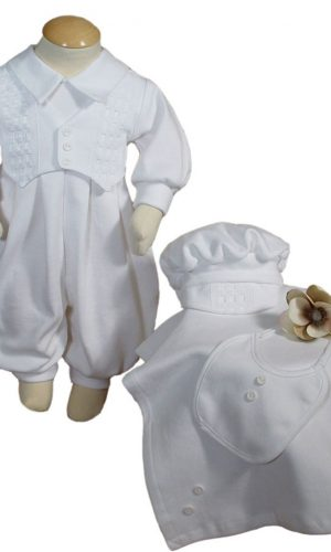 Boys White Long Sleeve Cotton Interlock Preemie Christening or Burial 4 Piece Set - Little Things Mean a Lot