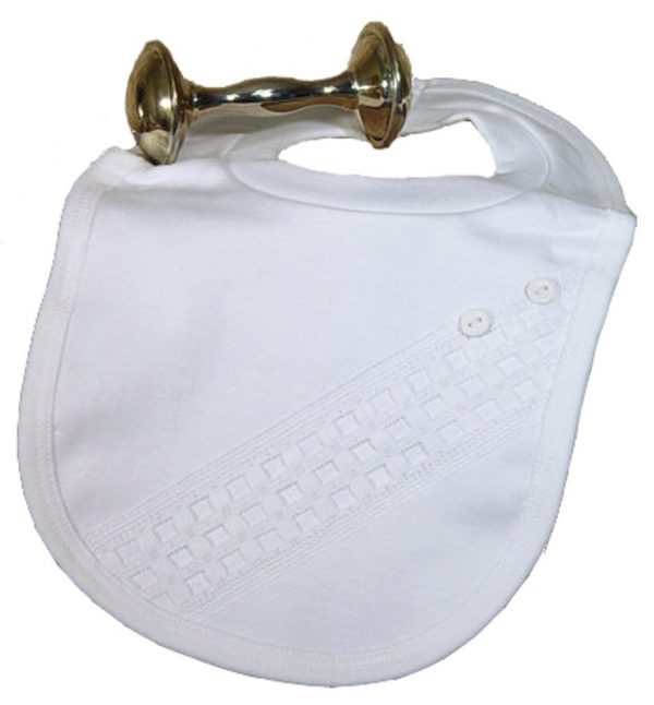 Beautiful White Bib with Window Pane Trim with Buttons