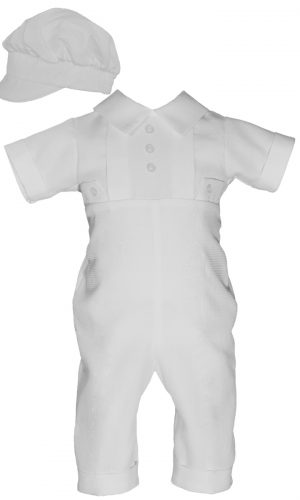 Boys Waffle Pique Christening Baptism Coverall Hat - Little Things Mean a Lot