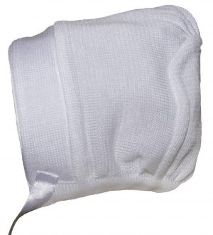 Boys White Cotton Knit Hat or Bonnet