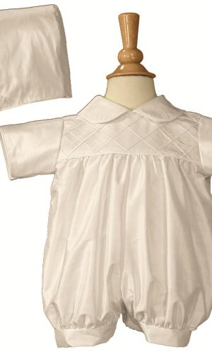 Boys White Smocked Silk Christening Baptism Romper