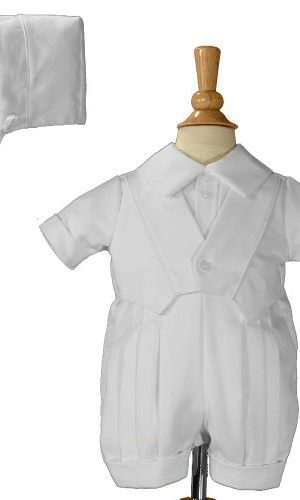 Boys White Christening Baptism Romper With Vest - Little Things Mean a Lot