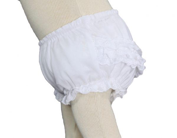 Baby Girls White Elastic Bloomer Diaper Cover with Embroidered Eyelet Edging - Little Things Mean a Lot