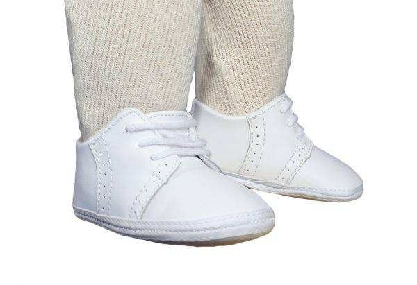 Baby Boys All White Genuine Leather Saddle Oxford Crib Shoe with Perforations - Little Things Mean a Lot