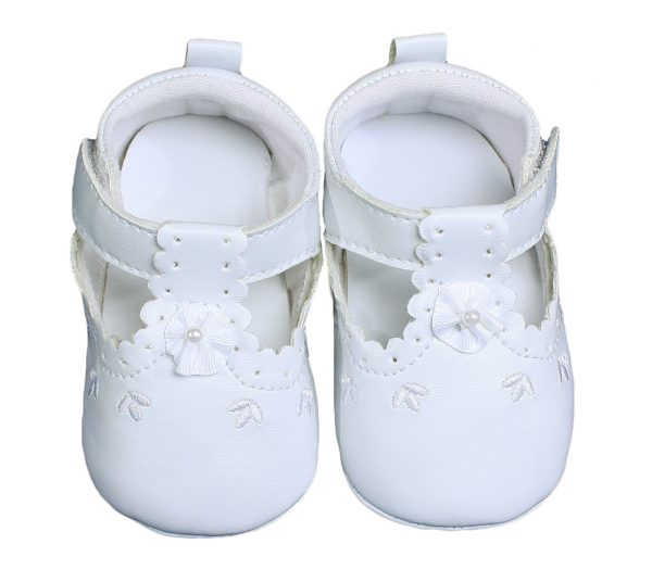Baby Girls All White Faux Leather Mary Jane Crib Shoe with Perforation Accents - Little Things Mean a Lot