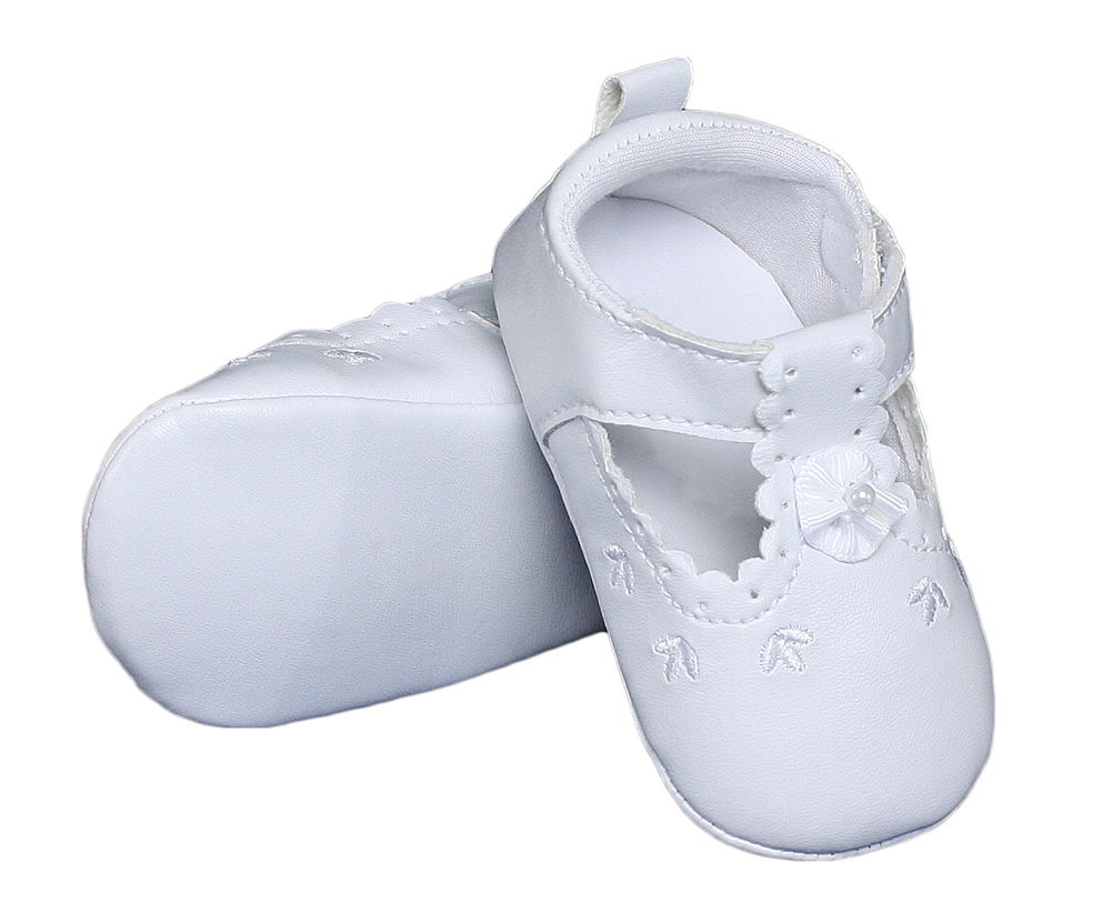 Baby Girls All White Faux Leather Mary Jane Crib Shoe With
