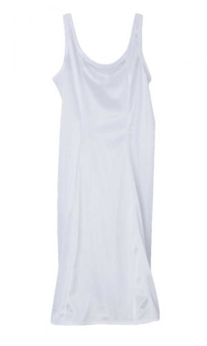 Girls White Simple Princess Style Tea Length Nylon Slip with Adjustable Straps - Little Things Mean a Lot