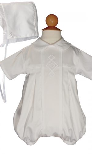 Boys Cotton Embroidered Christening Baptism Romper with Diamonds and Matching Hat - Little Things Mean a Lot