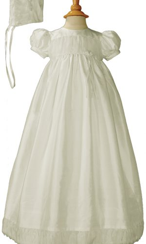 Girls Silk Dupioni Christening Baptism Gown with Silk Organza Pleats and Bonnet - Little Things Mean a Lot
