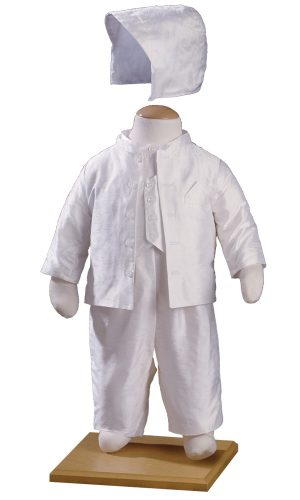 Boys Silk Off-White Mandarin Style Christening Suit Tuxedo with Matching Hat - Little Things Mean a Lot