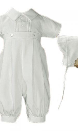 Baby Boys White Gabardine Coverall with Matching Hat - Little Things Mean a Lot