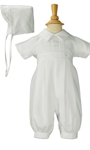Boys White Gabardine Christening Baptism Pintucked Coverall with Matching Hat - Little Things Mean a Lot