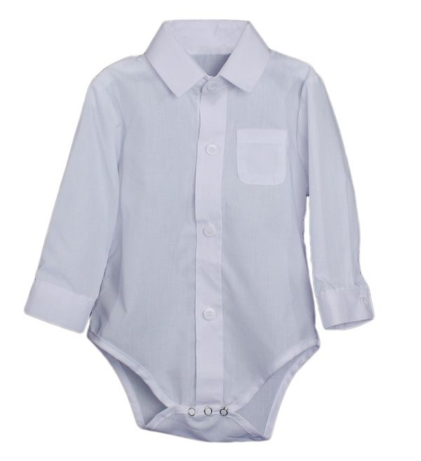Baby Boys Poly Cotton Button Up White Dress Shirt Bodysuit Romper with Collar - Little Things Mean a Lot