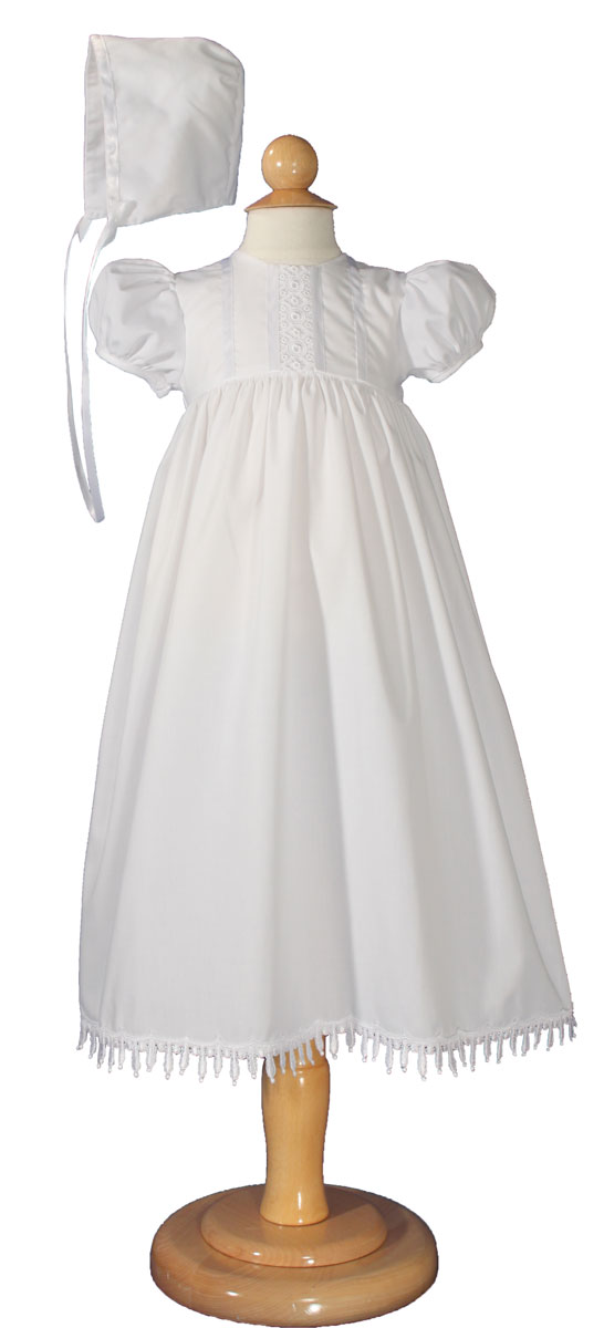 "Girls 24"" Poly Cotton Teardrop Lace Christening Baptism Gown with Bonnet"