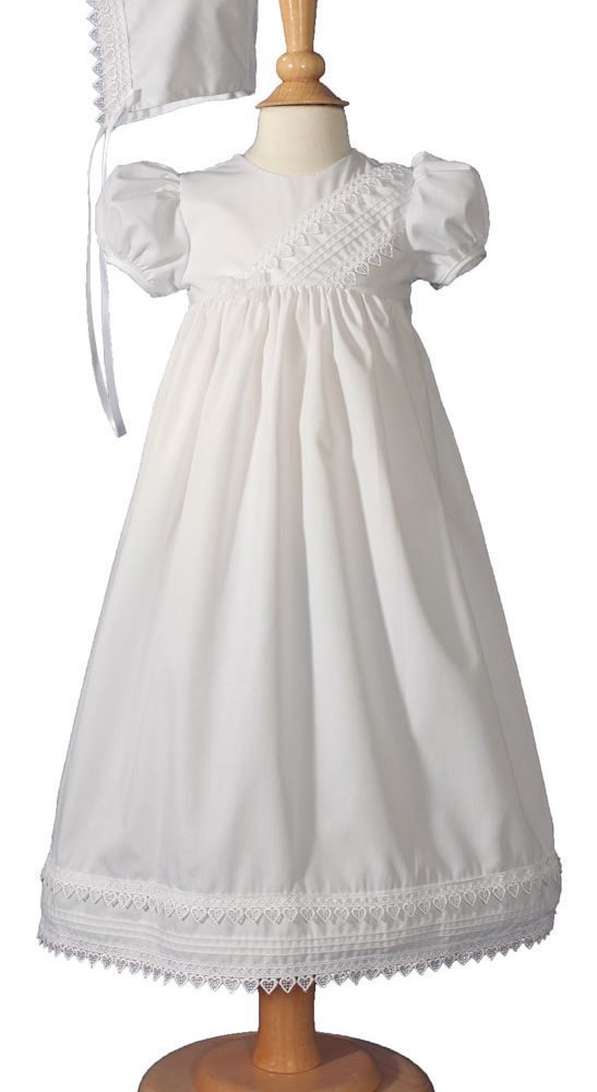 Little Things Mean A Lot White Polyester Taffeta Christening Baptism Gown with Rosettes and a Bonnet