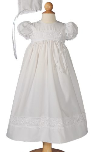 Girls Poly Cotton Dress Christening Baptism Gown with Rose Lace and Matching Bonnet - Little Things Mean a Lot