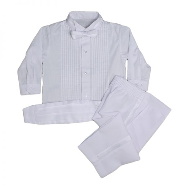 Baby Boys Formal White Poly Cotton 5 Piece Classic Tux Set with Tail - Little Things Mean a Lot