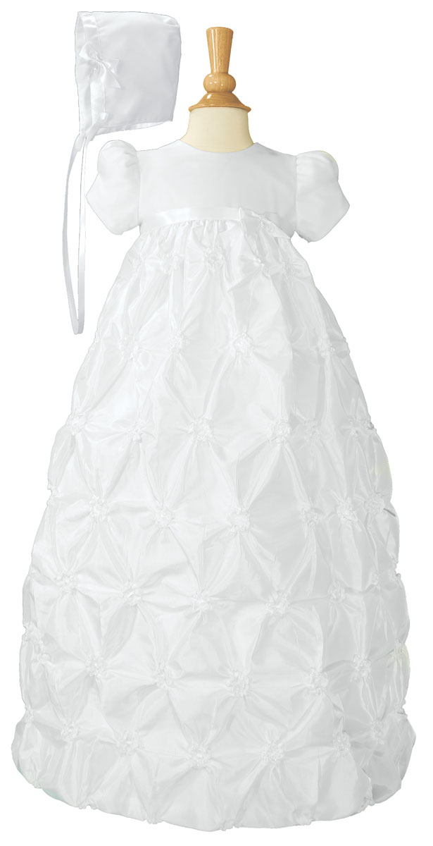 Girls White Polyester Taffeta Christening Baptism Gown with Rosettes ...