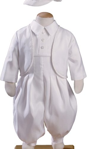 Boys Silk Shantung Christening Baptism Coverall with Jacket and Matching Hat - Little Things Mean a Lot
