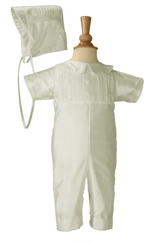 Boys White Pin Tucked 100% Silk Shantung Christening Baptism Special Occasion Coverall - Little Things Mean a Lot