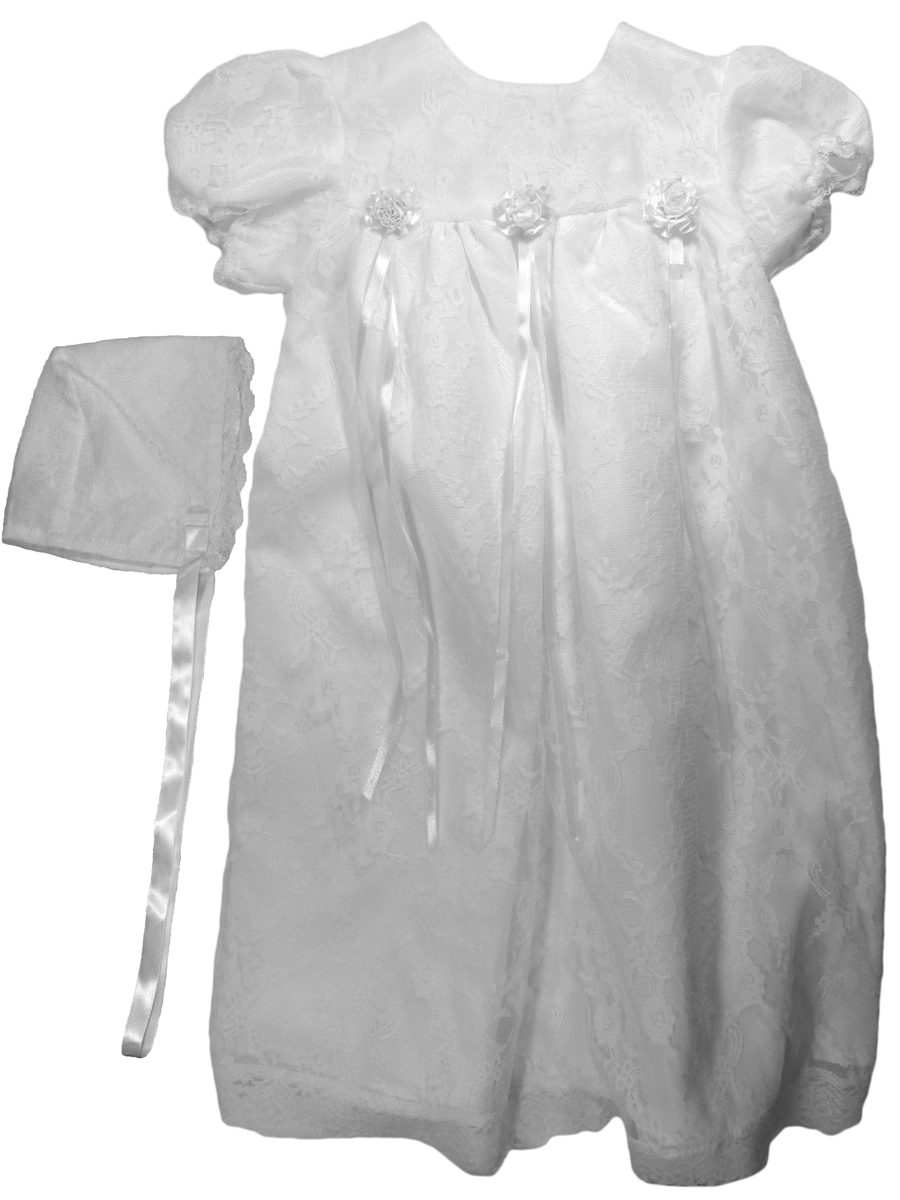 Girls White All Over Lace Christening Gown With Bonnet