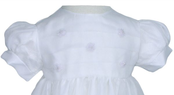 Girls' White Organza Overlay Gown with Sheer Flowers