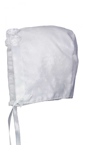 Baby Girls White Poly-Cotton Christening Baptism Hat with Lace Overlay and Flower Accents - Little Things Mean a Lot