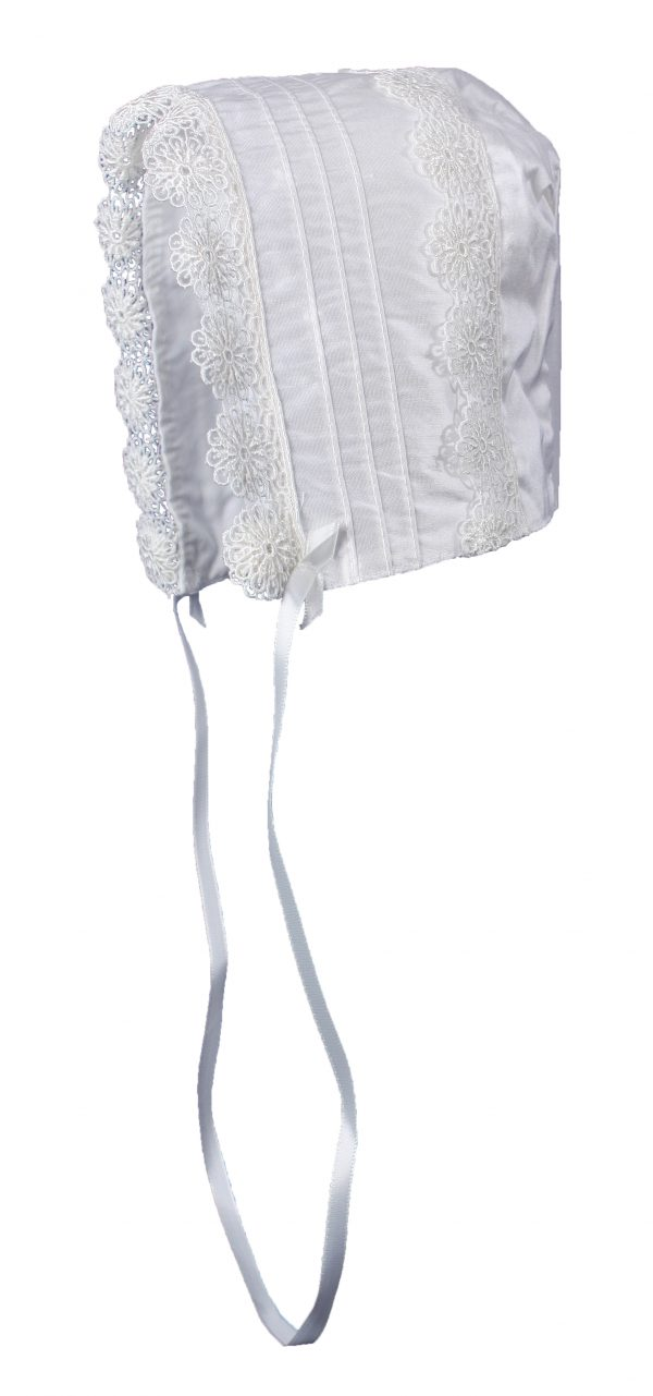 Baby Girls White Silk Christening Baptism Hat with Pin Tucking and Lace Trim - Little Things Mean a Lot
