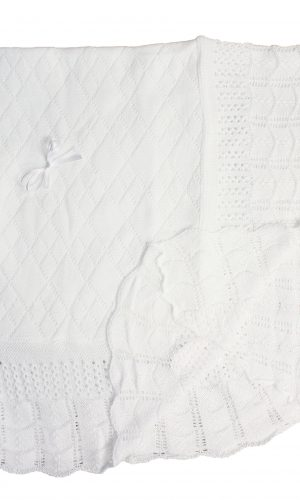 Baby Fancy Christening White Hand Crochet 100% Cotton Shawl/Blanket 49 x 39 In - Ribbon Bow - Little Things Mean a Lot