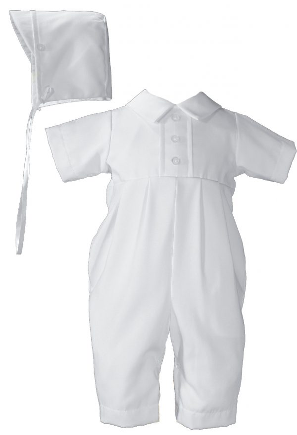 Gaberdine Christening Baptism One Piece with Buttons and Hat