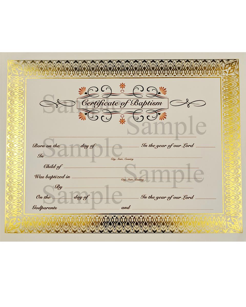 154e868e4a5e5 Customized Baptism Certificate with Gold Foil Diamond Border