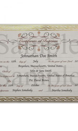 Customized Baptism Certificate with Gold Foil Leafing Border - Little Things Mean a Lot