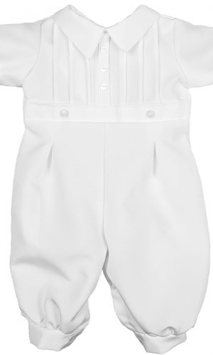 Boys White Short Sleeve Collared Romper Coverall with Pin-Tucking - Little Things Mean a Lot