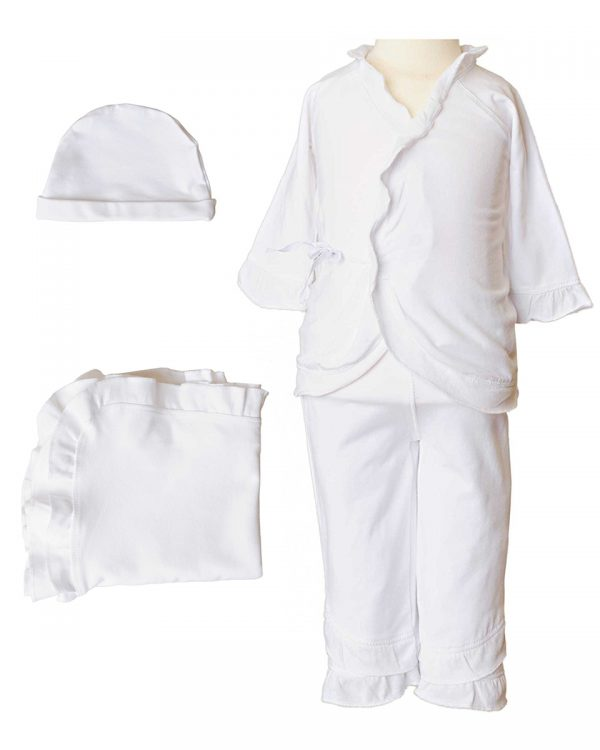 Girls Four-Piece Bamboo Layette Set in Pink or White - Little Things Mean a Lot