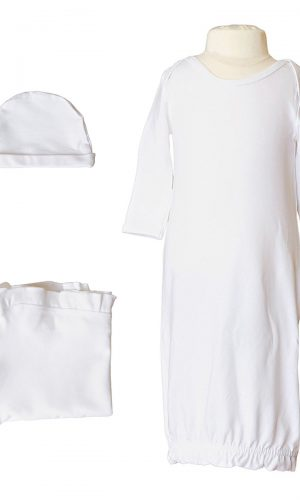 Girls Three-Piece Bamboo Layette Set in Pink or White - Little Things Mean a Lot