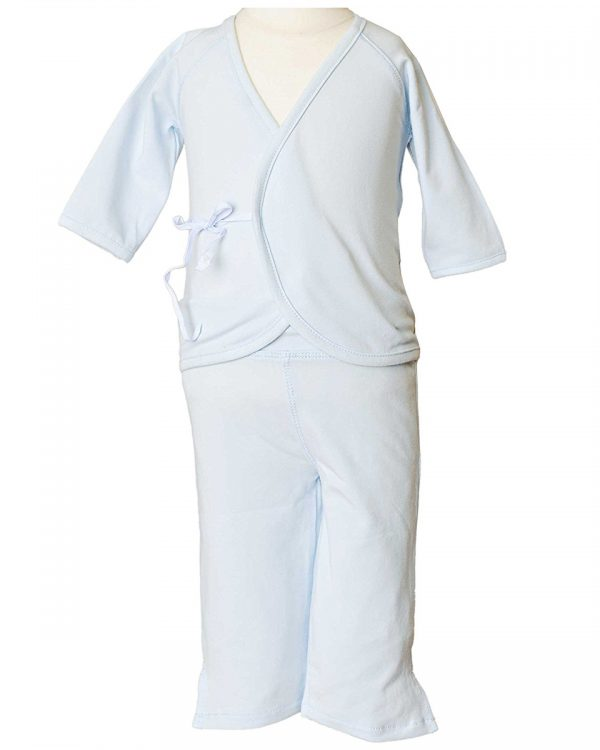 Boys Four-Piece Bamboo Layette Set in Blue or White - Little Things Mean a Lot