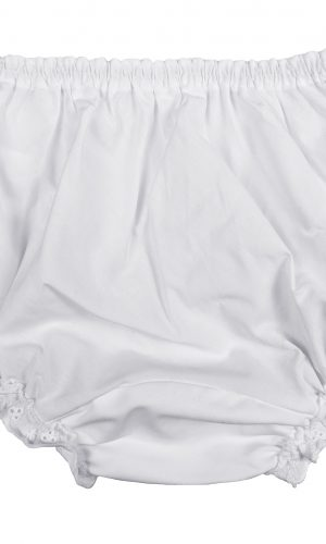 Embroidered Eyelet Edging Around Legs SM Little Things Mean A Lot Baby Girls White Elastic Bloomer Diaper Covers