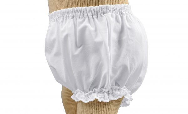 Baby Girls White Elastic Bloomer Diaper Cover with Embroidered Eyelet Edging Around Legs - Little Things Mean a Lot