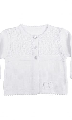 Girls White 100% Cotton Sweater with Tear Drop Pattern and Scalloped Trim - Little Things Mean a Lot