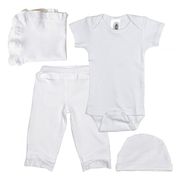 Girls Five-Piece Bamboo Layette Set in Pink or White with Cotton Knit Onesie - Little Things Mean a Lot