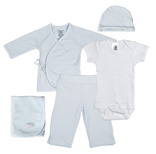 Boys Five-Piece Bamboo Layette Set in Blue or White - Little Things Mean a Lot