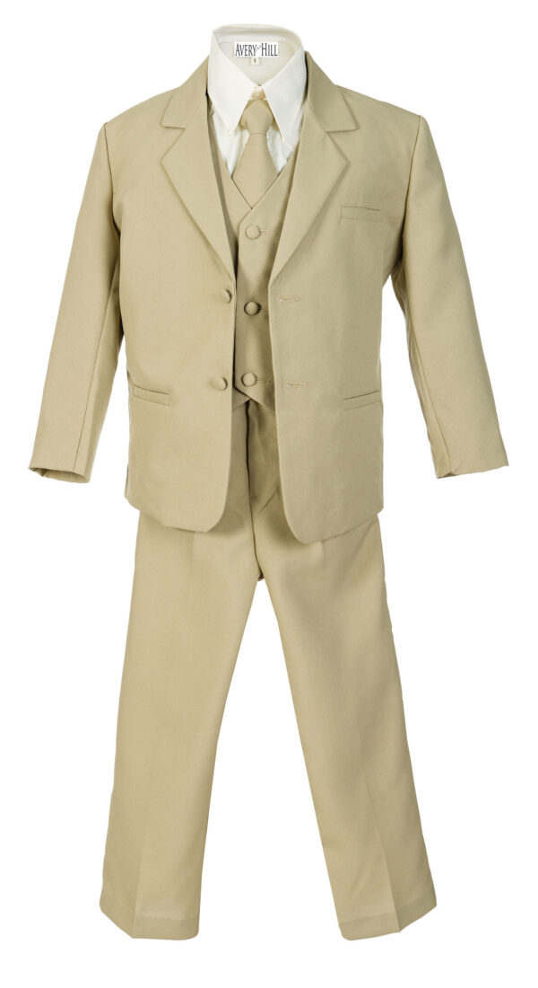 Boys Formal 5 Piece Suit with Shirt and Vest - Khaki - Little Things Mean a Lot