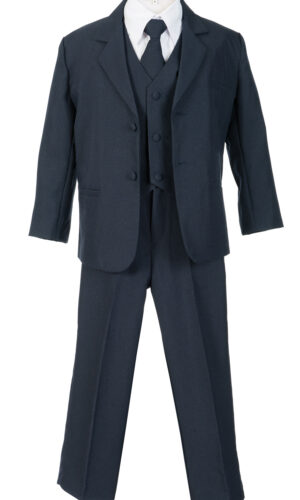 Boys Formal 5 Piece Suit with Shirt and Vest - Navy - Little Things Mean a Lot