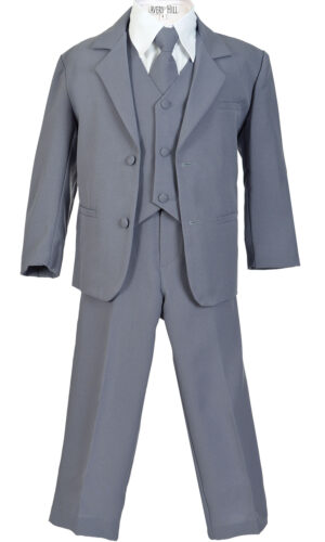 Boys Formal 5 Piece Suit with Shirt and Vest - Slate Gray - Little Things Mean a Lot