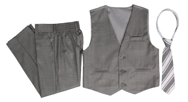 Boys Formal 5 Piece Suit with Shirt, Vest, Tie and Garment Bag - Light Gray - Little Things Mean a Lot