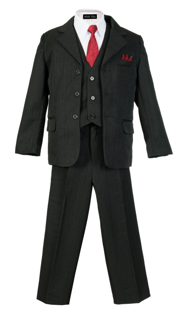 Boys Pinstripe Suit Set with Matching Tie - Black - Little Things Mean a Lot
