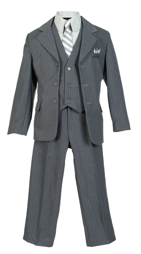 Boys Pinstripe Suit Set with Matching Tie - Gray - Little Things Mean a Lot